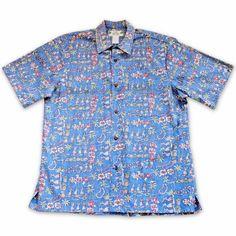 Waikiki Blue Hawaiian Reverse Shirt   #madeinhawaii #alohashirt #floralshirt #hawaiianshirts #hawaiianshirt