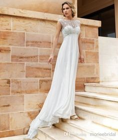 Cheap Backless Empire Wedding Dresses For Pregnant Women Sheer Straps Jewel Chiffon Applique Lace 2014 Hot Sale Bridal Gowns 2015 New sdd