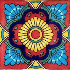 Handmade Tiles, Handmade Pottery, Tile Art, Mosaic Art, Mosaics, Mexican Art, Mexican Tiles, Mexican Garden, Mexican Colors