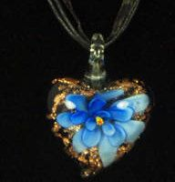Fashion Modern Royal Blue Glass Heart Flower Pendant with Black Ribbon & Cord Necklace by WhimzRecycledJewelry on Etsy