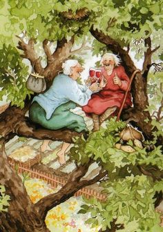 """inge look red wine in tree - """"Chin Chin, Inga.Look!"""" ~ Red Wine In Tree by Inge Look - Illustrations, Illustration Art, Old Lady Humor, Art Fantaisiste, Whimsical Art, Old Women, Old Ladies, Funny Photos, Funny Images"""