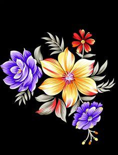 Draw Flowers, Pink Flowers, Flower Art Images, Victorian Art, Egyptian Art, Border Design, Digital, Green Leaves, Art Inspo