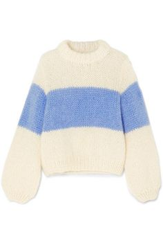 GANNI - Striped mohair and wool-blend sweater - Outfits:) - Sweaters Lara Jean, Outfit Look, Fall Sweaters, Striped Knit, Striped Sweaters, Chunky Wool, Sweater Outfits, Sweater Shirt, Sweater Weather