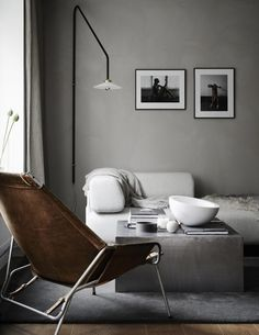 Concrete Gray Interior Design Color Schemes that you will absolutely love! Modern interior design that is right on trend! Interior Ikea, Gray Interior, Living Room Interior, Home Living Room, Modern Interior, Interior Styling, Modern Decor, Interior Architecture, Living Room Decor