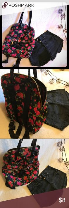 Betsey Johnson Seatbelt Straps Floral Backpack Bag Adorable bag. Seatbelt straps. Floral Design. Large interior Pocket. Large external Pocket with small zip Pocket. Small flaw: satin lining pulling away from material at base of bag -- can't even see unless you look for it !! Reason for low price -- bundle and save !! Xo Betsey Johnson Bags