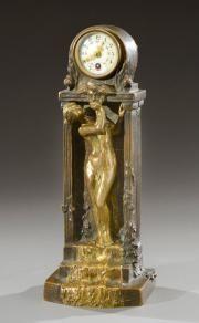 Ars Nouveau Bronzes Charles (Karl) Korschann (Czech, 1872-1943) Bronze & Dore' female figural clock