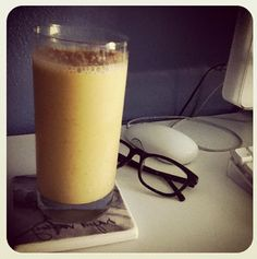 Instead of a big piece of carrot cake, try this smoothie instead: carrot juice, almond milk, Greek yogurt, honey, cinnamon, nutmeg, frozen, pineapple, banana, ice, flax.