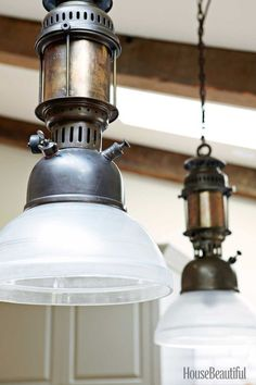 A Sturdy, Industrial Kitchen in Napa Valley Obsolete Vintage Light Fixtures Vintage Bathroom Lighting, Vintage Industrial Lighting, Vintage Light Fixtures, Industrial Light Fixtures, Industrial Chic, Farmhouse Kitchen Lighting, Industrial Kitchen Design, Kitchen Interior, Pallet Patio Furniture