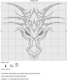 dragon, head, pattern, medium, complex, cross-stitch, tribal design