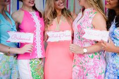 Lilly Pulitzer styled bridesmaids shoot- Paper goods and wine labels by Pretty Peacock Paperie - Washington, D.C Wedding Invitations