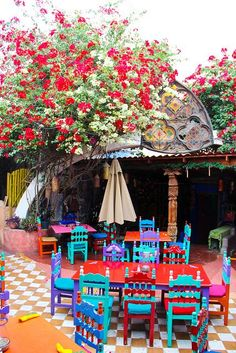 Great idea for re-finishing the kitchen table & chairs when it's time ... Mexican Courtyard | http://PhilosBooks.com