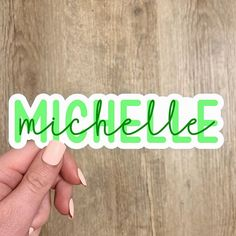 Green Personalized Name Sticker Personalized Stickers, Personalized Products, Custom Stickers, Great Names, State Outline, Name Stickers, Waterproof Stickers, Flower Patterns, Great Gifts