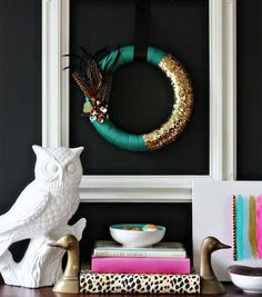 Forgo the traditional decor with a glitzy wreath.