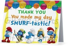 Folded Smurfs Thank You Card 1 Birthday Thank You Cards, Printable Thank You Cards, Themes Free, You Make Me, Customer Service, Smurfs, Digital, Prints, Customer Support