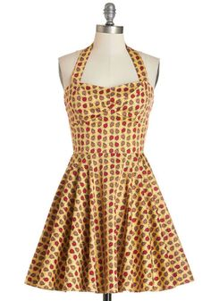 Traveling Cupcake Dress in Apples - Multi, Novelty Print, Daytime Party, Fruits, Fit & Flare, Woven, Good, Halter, Cotton, Halter, Variation...
