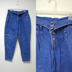 Steffano . 80s fold over blue denim high waist jeans . by june22