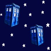 Doctor Who Inspired TARDIS on Starfield by bohobear, click to purchase fabric