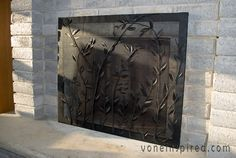 How to make a faux fireplace screen & dress a mantel Fireplace Cover Up, Decorative Fireplace Screens, Faux Fireplace, Fireplace Mantels, Fireplace Ideas, Pottery Barn, Knock Off Decor, Crate And Barrel, Home Projects