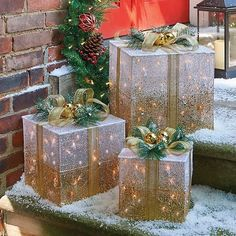 Give yourself the gift of lighted gift box Christmas decorations. They'll look great on your covered porch. You may also put them on your mantel or table. Outdoor Christmas Presents, Church Christmas Decorations, Christmas Porch, New Years Decorations, Christmas Crafts, Christmas Holiday, Christmas Light Show, Best Christmas Lights, Xmas Lights