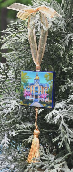 University of NOTRE DAME Ornament or Magnet / College Ornament or Magnet / University of Notre Dame Mini Canvas Ornament or Magnet by ArtistsHoliday on Etsy
