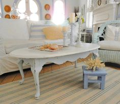 coffee table shabby chic furniture painted beach by backporchco, $174.99