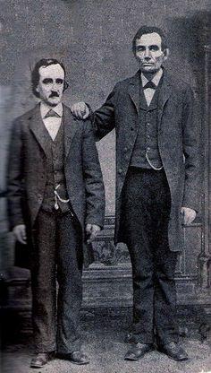 Edgar Allan Poe poses with Abraham Lincoln in Mathew Brady's Washington, D.C. studio- February 4th, 1849.