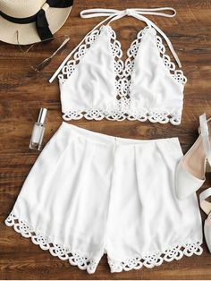 Lace Panel Halter Top and Shorts Set Summer Dress Outfits, Spring Outfits, Cute Outfits, Two Piece Dress, Two Piece Outfit, Trendy Fashion, Fashion Outfits, Womens Fashion, Jumpsuit Dressy