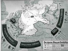 """Map of Germany's """"heavly armed enemies"""", 1927, propaganda for why Germany needed to rearm."""