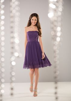 Cheap and Australia Purple Strapless Lace & Chiffon Knee Length Bridesmaid Dresses from Dresses4Australia.com.au