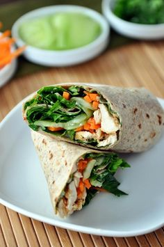 These Thai chicken crunch wraps are fantastic.The crunch factor is crazy-in-a-good-way thanks to the quick, 10-minute homemade pickles, fresh lettuce and crisp carrots.
