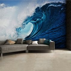 Giant size Ocean wave wallpaper mural. Perfect decoration wall mural photo wallpaper for home interior walls. Kids bedroom. Express sipping available.