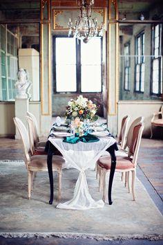 Emerald, Mint + Peach Wedding Inspiration - Style Me Pretty Dining Room Inspiration, Wedding Inspiration, Beautiful Table Settings, Interior Decorating, Interior Design, New York Wedding, Beautiful Interiors, Event Design, Interior And Exterior