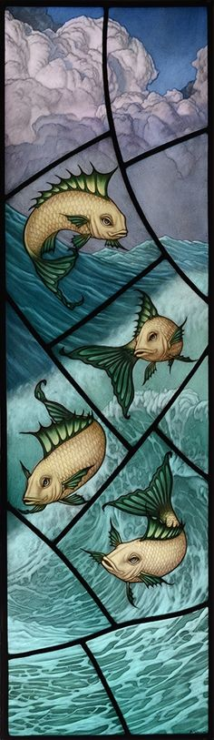 """After the Storm,"" painted, fired and leaded stained glass panel by the incomparable Brian James Waugh of Glasgow, SCOTLAND Reminds me of Mr Limpet Stained Glass Paint, Stained Glass Designs, Stained Glass Windows, Mosaic Art, Mosaic Glass, Art Of Glass, Leaded Glass, Fish Art, Colored Glass"