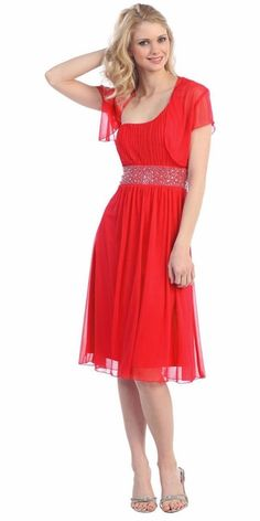 Single Strapped Red A Line Cocktail Dress with bolero #discountdressshop #chiffon #cocktail #bridesmaids #reddress #christmasparty