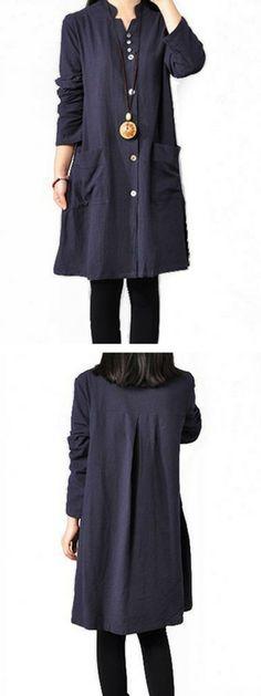 Side Slit Button Closure Long Sleeve Dress
