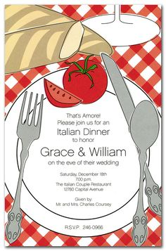 Italian Placesetting - Party Invitations by Invitation Consultants. (Item # IN-1-1474 )
