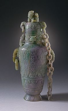 Lidded Vase (Ping) with Lion, Phoenixes, Felines, and Masks, China, Late Qing dynasty, about 1800-1911, Abraded jade