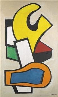 COMPOSITION MURALE SUR FOND JAUNE By Fernand Léger ,1953