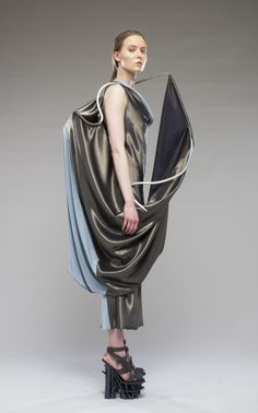Conceptual Fashion - 3D dress with wire frame & draped fabrics; sculptural fashion // Misora Nakamori