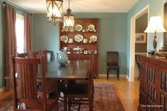 I love everything about this dining room, especially the light fixtures!