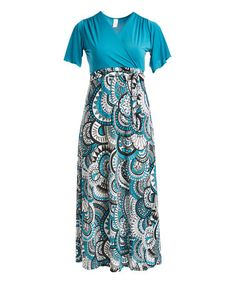 This Teal Medallion Short-Sleeve Surplice Maxi Dress - Plus is perfect! #zulilyfinds
