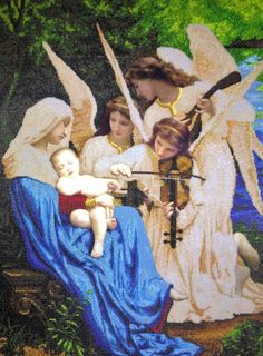 Embroidered reproduction of painting Song of the Angels by Bouguereau  Beaded Madonna with a child Art and collectibles Home decor  Wall dec
