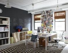 Home office- what I love- HUGE desk with lots of room to spread out, not facing a wall, not backed into a corner. lots of natural light, lots of storage (Shelves, filing cabinet, etc), chalkboard wall (maybe not that huge of a wall though).