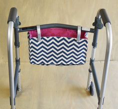 CUSTOM ORDER-Hook Handle Tote with Attached Strap. Exclusively Designed XL Hook-n-Go Tote with 2 Hook Handles.Walker/Wheelchair Pouch.