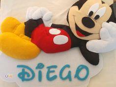 Nome em feltro placa porta/parede quarto/berço Mickey