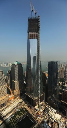One World Trade Center, viewed from the 72nd floor of Four World Trade Center, on September 7, 2012 in New York City.