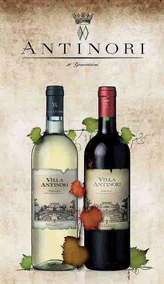 "Poster created to celebrate the 80th birthday of ""Villa Antinori"" Wine. Italy"