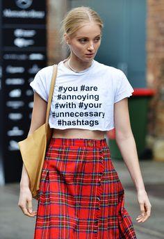 Tartan skirt and hashtag crop in Sydney.