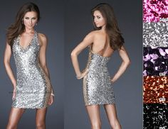 Short Sequined Dress for Slim Young Girl V-Neck Mini No Sleeve Lady Dress 1 Size Fucia Black Silver Orange Violet Colors on AliExpress.com. $5.00