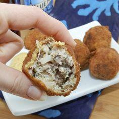 Sauerkraut balls with sausage, onion and kraut.